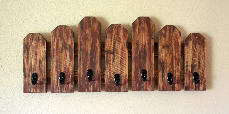 Rustic Pallet Coat Hat Rack Reclaimed Wood Primitive Home