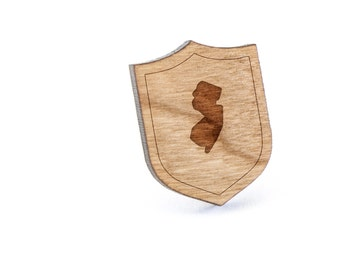New Jersey Lapel Pin, Wooden Pin, Wooden Lapel, Gift For Him or Her, Wedding Gifts, Groomsman Gifts, and Personalized