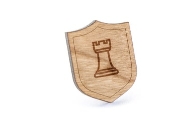 Chess Rook Lapel Pin, Wooden Pin, Wooden Lapel, Gift For Him or Her, Wedding Gifts, Groomsman Gifts, and Personalized