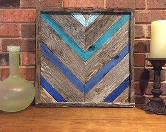Rustic Shades Of Blue Chevron Reclaimed Wood Wall Art