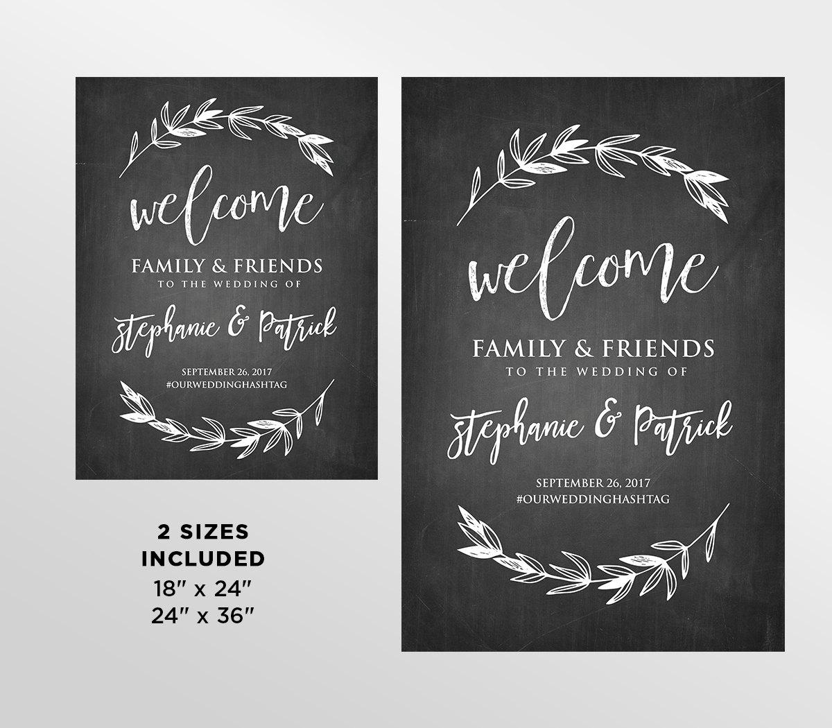 printable wedding welcome sign rustic chalkboard wedding digital file instant download. Black Bedroom Furniture Sets. Home Design Ideas
