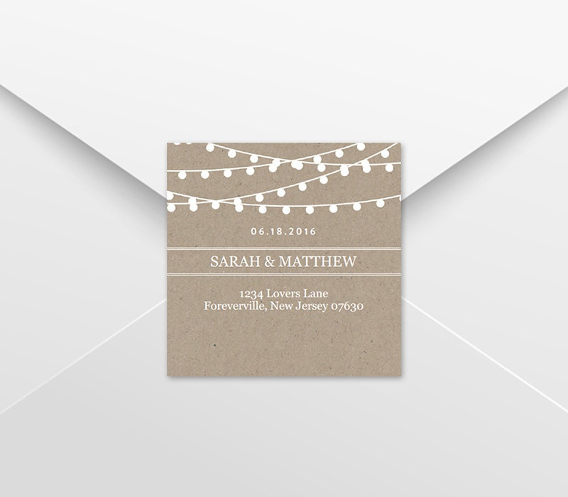 Wedding Favor Tag Template, Return Address Labels, Kraft String Lights ...