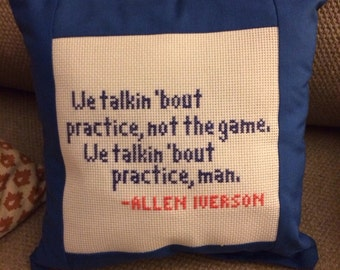 Allen Iverson Practice Needlepoint Pillow