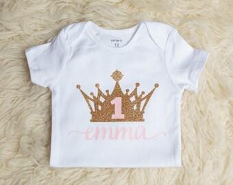 First Birthday Outfit, 1st Birthday Outfit, 1st Birthday Onesie, Personalized Onesie, Gold Pink Onesie, Princess Onesie, Princess Birthday