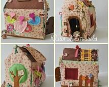 Dollhouse Soft Dollhouse  Fabric Dollhouse Handmade house   Handmade Travel house Quilted fabric dollhouse