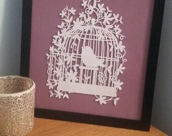 Birdcage Framed Papercut