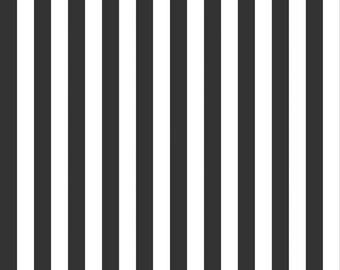 Riley Blake Half Inch Stripe, White and Black, fabric by the yard