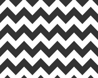 Riley Blake, Medium Chevron, Black and White, fabric by the yard