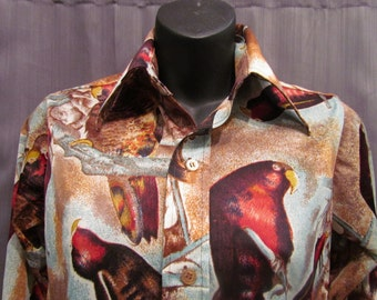 SALE!!! Vintage 1970s Disco 100% Polyester Ladies Size 14 Montgomery Ward Parakeet Print Button-Up Shirt