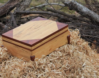 Handcrafted Keepsake Box Made From Spalted Maple & Bubinga       (BX7)