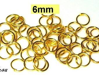 100 open jump rings 6 mm Jumpring gold (K41. 6)