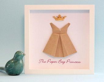 Baby Gift, Nursery Wall Art, 3D Paper Art, Nursery Decor, Origami Dress, Princess, Paper Bag Princess