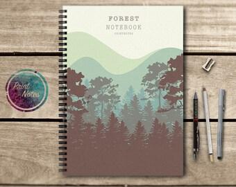 Notebook, Sketchbook, note, writing journal, spiral notebook, scrapbook, diary, memory book, 5x8, journal, notepad, 8x11, forest, green
