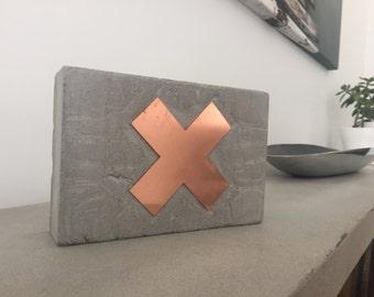 Concrete Block with Copper 'X'