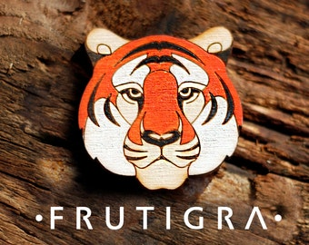 Wooden brooch tiger