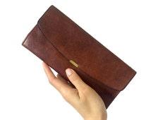 Vintage 70's, slimline, mirrored, auburn-brown leather wallet w/coin purse - 25% OFF CODE: bbsummersale