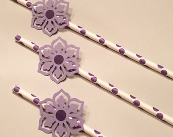 12 Purple Flower Straws Purple Straws Baby Shower Straws Wedding Shower Straws Birthday Straws Bachelorette Straws Engagement Straws