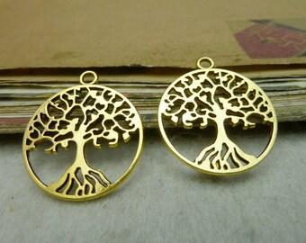 20 Tree of Life Charms Gold Tree Charm Metal Findings Pendant Bracelet Earrings Zipper Pulls Keychains (YT8027)
