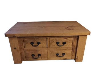 Rustic Coffee Table Large With 4 drawers (can be made any size)