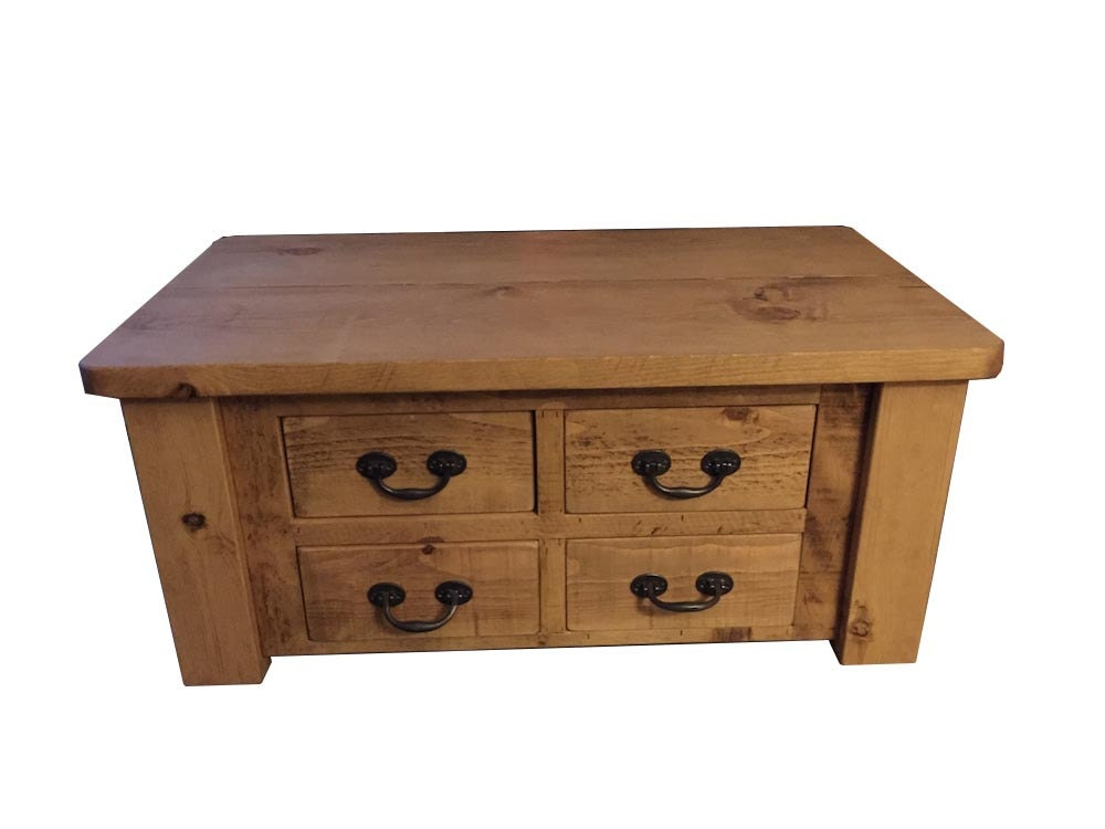 Rustic coffee table large with 4 drawers can be made any for Rustic coffee table with drawers
