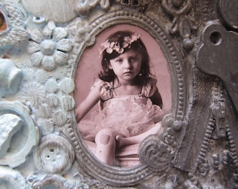 Little Girl Art Mixed Media Assemblage Wall Art Cottage Chic Vintage Jewelry Vintage Buttons  M1