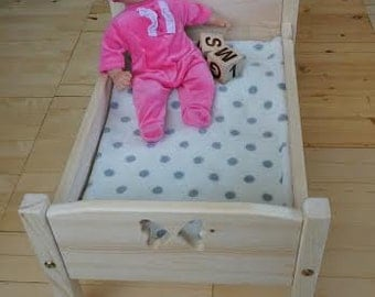 Handmade Wooden Doll Bed, Doll Furniture, American Girl Doll Bed