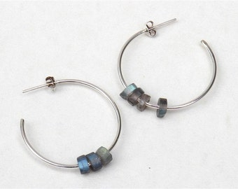 Handmade silver earrings, Silver ring earrings Silver and labradorite earrings