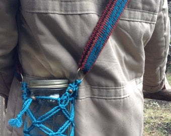 Macrame Water Bottle Holder with Inkle Woven Strap