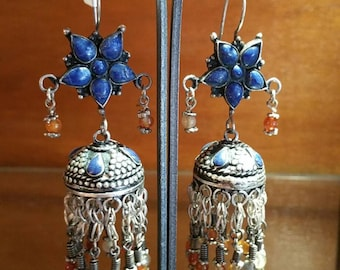 Old afghani lapis lazuli and carnelian Silver earrings