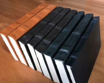 Hand bound leather books