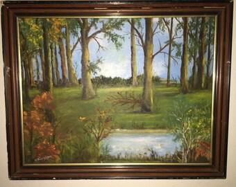 Vintage oil landscape sighned by E. Harrison