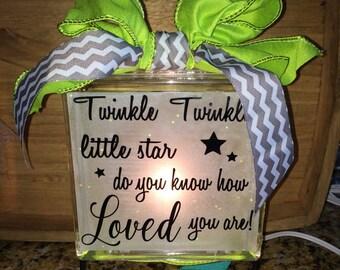Glass Block Night Light / Nursery Nightlight / Twinkle Little Star Nightlight