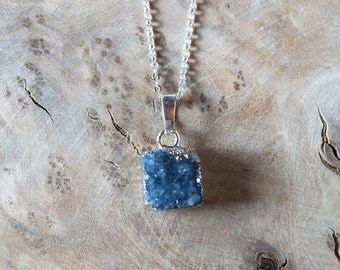SALE -- ROBYN - Druzy Stone // Blue Geode // Silver Plated // Necklace // Geode // Natural Dainty Pendant Silver Plated