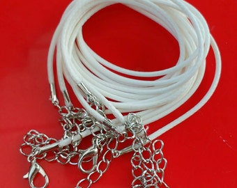 5x White cords necklaces waxed thong Diy jewelry bulk wholesale findings jewellery making supplies 47cm cord + chain & clasp UK