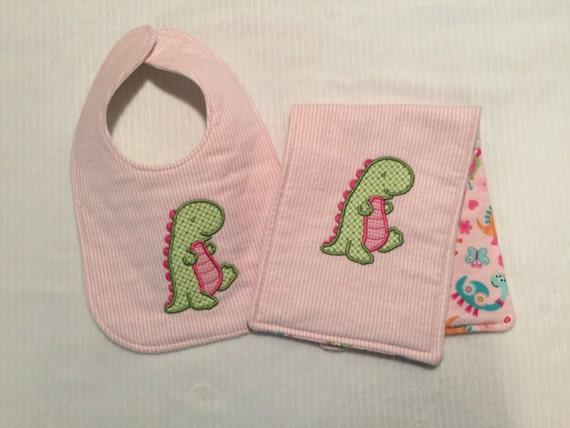 Dinosaur bib and burp cloth