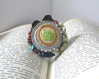 Art Gift, Unique Jewelry, Wearable Art, One of a Kind, Small Brooch, Polymer Clay, Upcycled, Original Jewelry, Bohemian brooch, Boho chic