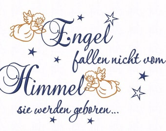 Embroidery file saying * angels fall... * in 3 sizes