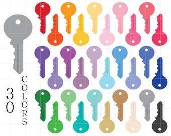 Key Clipart, House Keys, Colorful Keys Clip Art, House Clipart, Keys for Scrapbooking, Keys Digital, Round Head Keys, Universal Keys Clipart