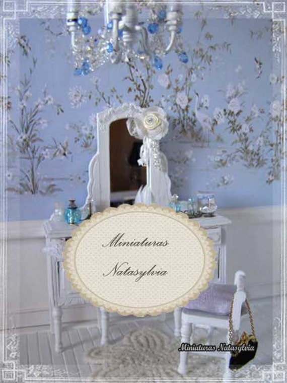French Chateau Chic Blue Wall Paper Digital For Dollhouse