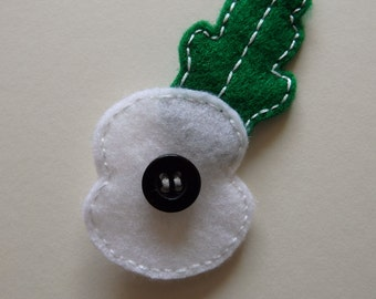 White peace poppy brooch - made to order