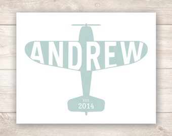Personalized Child's Name Airplane Nursery Art Print DIGITAL DOWNLOAD
