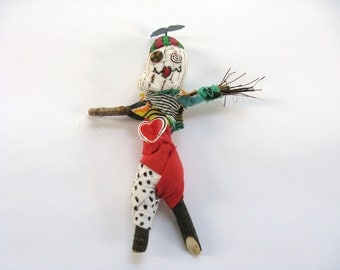 Voodoo Doll with Beanie Hat, Propeller Hat, Red Heart, Male Voodoo Doll, Female Voodoo Doll, Gag Gift, Mixed Media Poppet, Upcycled Pin Doll