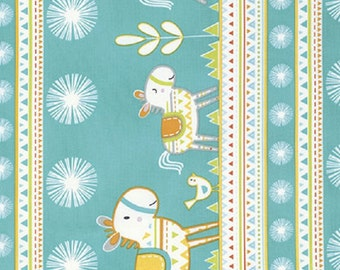 "Dena Designs   FreeSpirit  Fabric ""Happi Horses""  Stripe Turquoise"