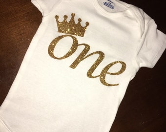 "Baby Girl first birthday ""ONE"" with crown bodysuit"