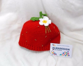 Strawberry hat,crocheted hat, hat for girls,baby accessories