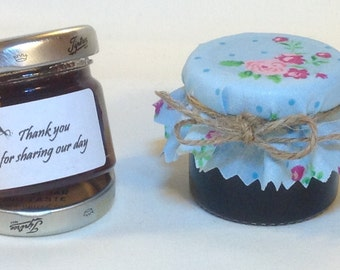 jam Wedding favour Fabric mini lid covers + twine/bands/labels X 50. 3 sizes avalible