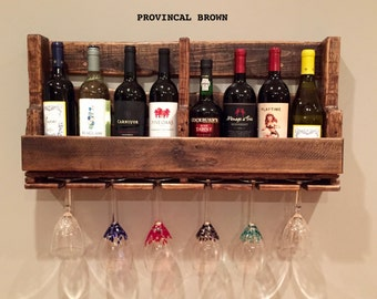 8 Bottle x 6 Glass Wall Mounted Wine Rack