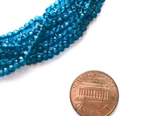 London Blue Topaz Quartz Beads, 3.5 to 4mm Teal Blue Rondelles Roundels. Faceted Beads, 13-inch Full Strand, Great Quality, Discount Price