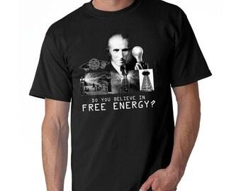 Nikola Tesla t-shirt, conspiracy Free Energy cool t-shirt