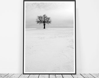 Scandinavian Art Print, Scandinavian Poster, Winter Art, Snow Tree Print, Modern Scandinavian Print, Snow Photography, Snow Print Scandi Art
